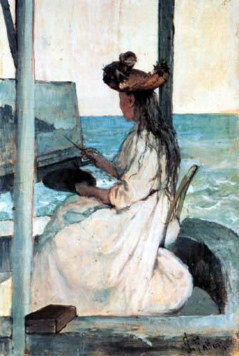 Giovanni Fattori - Junge Malerin bei der Arbeit