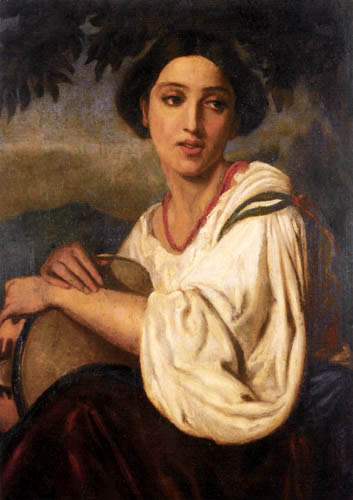 Anselm Feuerbach - Woman with a tambourine