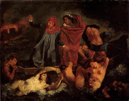 Anselm Feuerbach - The Barque of Dante, Copy after Delacroix