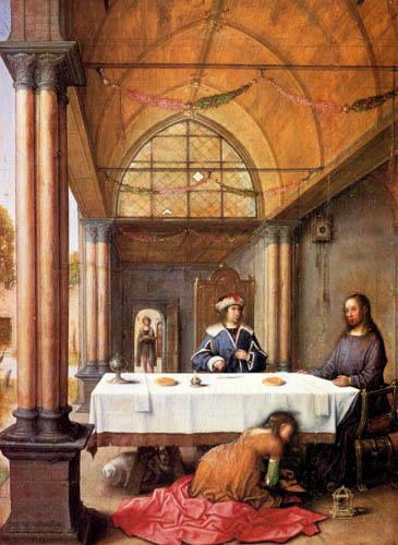 Juan de Flandes - Mahl im Haus des Simon