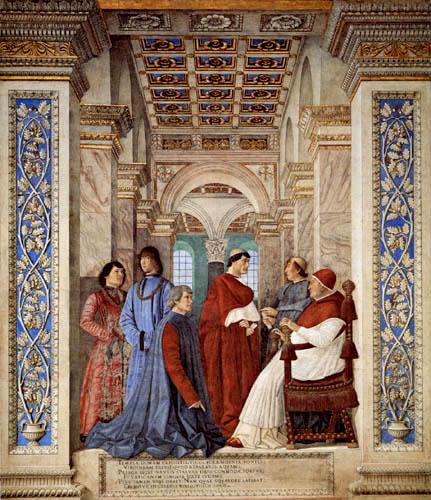 Melozzo da Forli - Sixtus IV. und Bartolomeo Platina