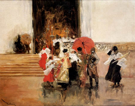 Mariano Fortuny - A procession in the rain