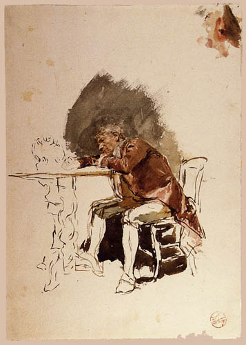 Mariano Fortuny - Man learning on a table