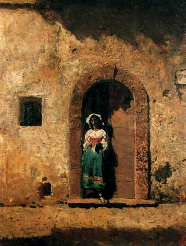 Mariano Fortuny - Ciocciara in the entrance of their house