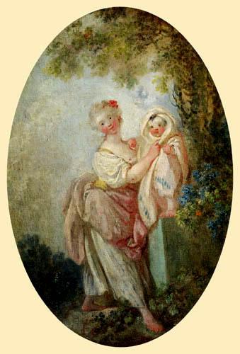 Jean-Honoré Fragonard - Junge Frau hält ihr  Kind