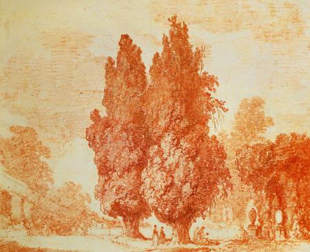 Jean-Honoré Fragonard - Italian Park with Cypresses