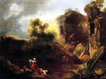 Jean-Honoré Fragonard - Wäscherinnen im römischen Garten