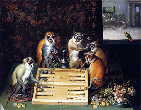 Frans Francken the Younger - Monkeys playing a board game