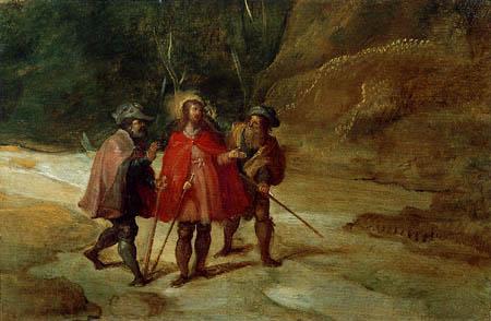 Frans II Francken der Jüngere - Landschaft mit Jesus und Pilgern