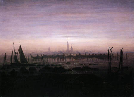 Caspar David Friedrich - Greifswald bei Mondschein