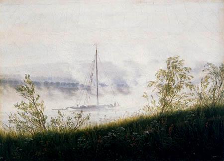 Caspar David Friedrich - A ship on the Elbe in the morning fog
