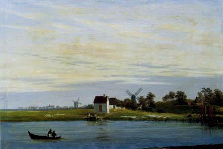 Caspar David Friedrich - Windmills by the river