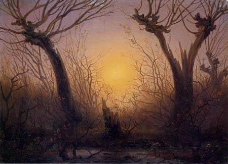 Caspar David Friedrich - Weidenbäume bei untergehender Sonne