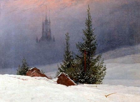 Caspar David Friedrich - A Winter Landscape with church