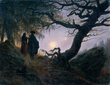 Caspar David Friedrich - Man and woman looking at the moon
