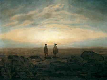 Caspar David Friedrich - Zwei Männer am Meer bei Mondaufgang