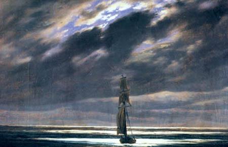 Caspar David Friedrich - Seascape in Moonlight, Detail
