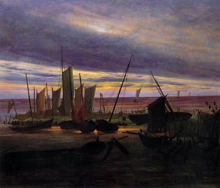 Caspar David Friedrich - Schiffe im Hafen
