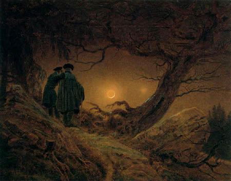 Caspar David Friedrich - Deux hommes regardent la lune