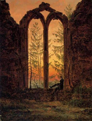 Caspar David Friedrich - Ruins of the monastery of Oybin, The Dreamer