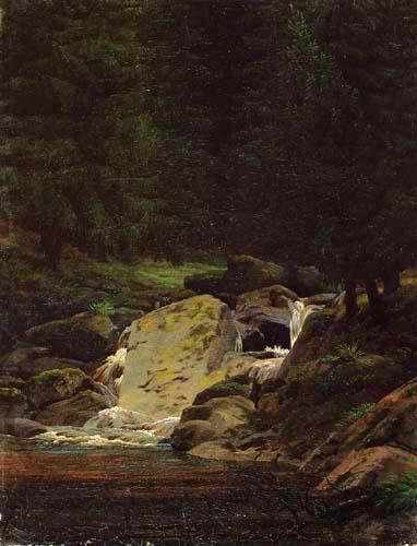 Caspar David Friedrich - Fir forest with waterfall