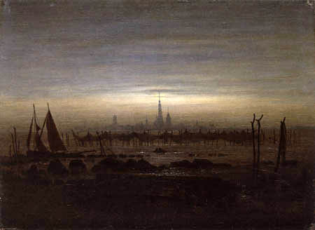 Caspar David Friedrich - Greifswald en Moonlight