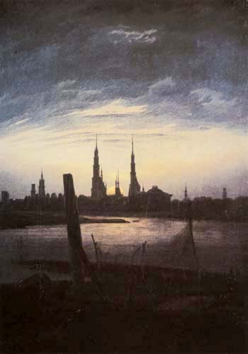 Caspar David Friedrich - Town at moonrise