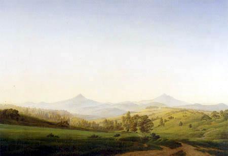 Caspar David Friedrich - Böhmische Landschaft mit dem Milleschauer