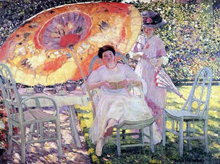 Frederick Carl Frieseke - Der Sonnenschirm im Garten