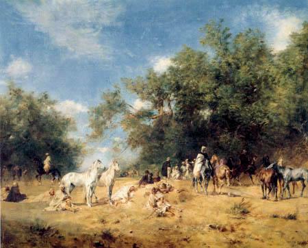 Eugene Fromentin - Rast arabischer Reiter im Wald