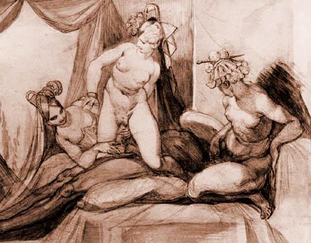 Johann Heinrich Füssli - Symplegma eines Mannes mit drei Frauen