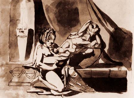 Johann Heinrich Füssli - Symplegma eines Mannes mit zwei Frauen