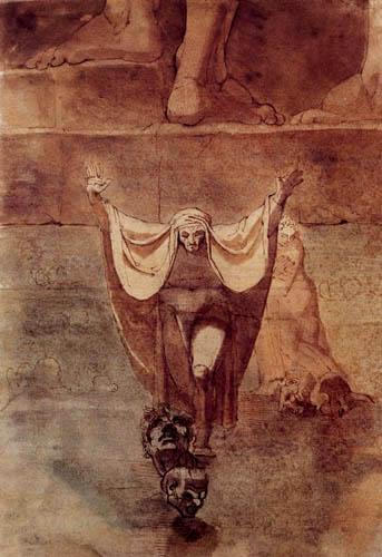 Johann Heinrich Füssli - Dante und Vergil auf dem Eis des Kozythos
