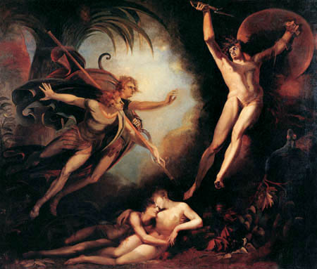 Henry Fuseli - Satan flieht vom Speer berührt