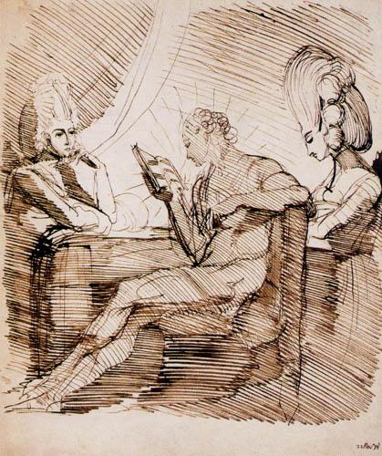 Johann Heinrich Füssli - Füssli den Schwestern Hess vorlesend