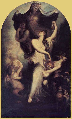 Henry Fuseli - Euphrosyne, or Mirth, with Fancy and Moderation Hovering over Her
