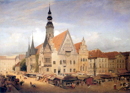 Eduard Gaertner - Vue de l'Hôtel de Ville à Wrocław