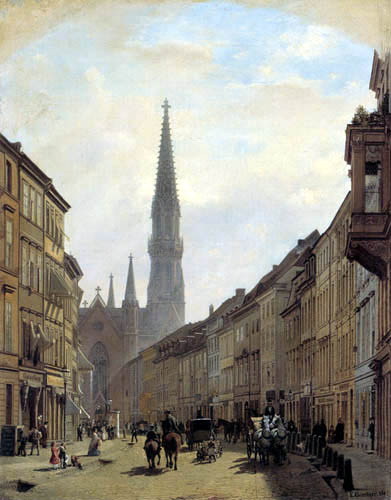 Eduard Gaertner - Bruederstrasse with St. Peter's Church, Berlin