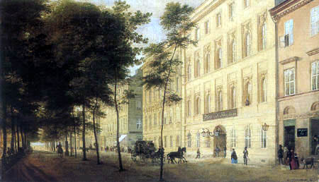 Eduard Gaertner - The Hotel St. Petersbourg, Unter den Linden
