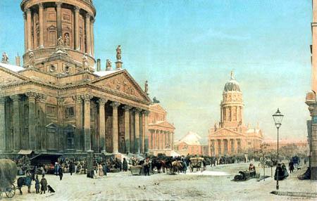 Eduard Gaertner - The Gendarmenmarkt in the Winter