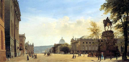 Eduard Gaertner - Unter den Linden with the monument of Friedrich the Great