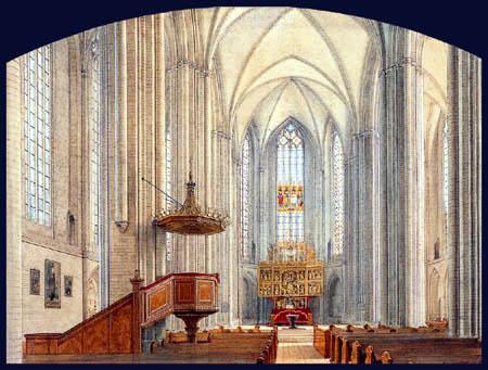 Eduard Gaertner - Das Innere der Marienkirche zu Prenzlau
