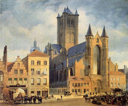 Eduard Gaertner - Market in Ghent