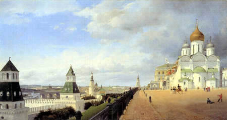 Eduard Gaertner - Panoramic View from the Kremlin in Moscow, left