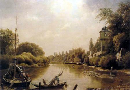 Eduard Gaertner - Bei Barby an der Elbe