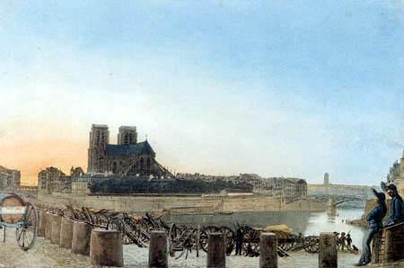 Eduard Gaertner - View from the Quai de la Tournelle to Notre Dame