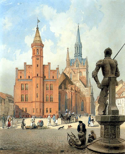 Eduard Gaertner - Town Hall and Parish Church in Perleberg