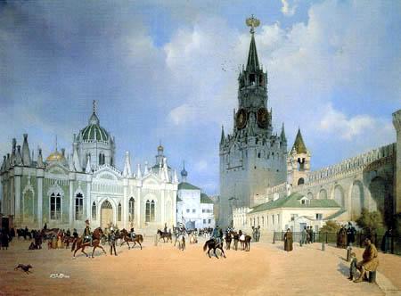 Eduard Gaertner - Spasskaya Tower, Moscow Kremlin