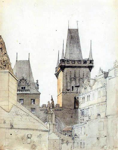 Eduard Gaertner - Towers sur la pont de rivière Vltava