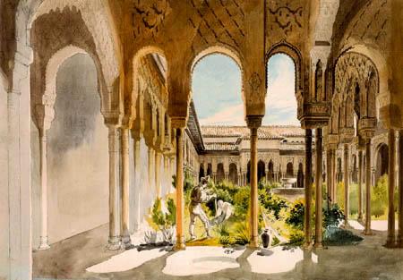 Wilhelm Gail - Der Löwenhof in der Alhambra, Granada